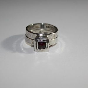 silpada stack rings red stone sz.7
